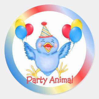 Party Animal Bluebird Classic Round Sticker