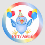 Party Animal Bluebird Round Stickers