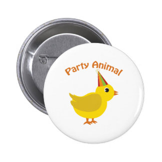 Party Animal Chick Pinback Button