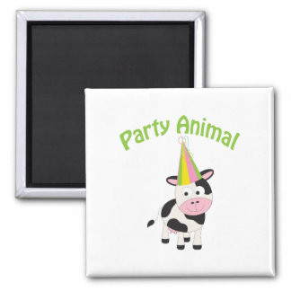 Party Animal cow 2 Inch Square Magnet