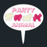 "PARTY ANIMAL Crackers Cookies Circus Zoo Birthday Cake Topper<br><div class=""desc"">Design features an original marker illustration of a row of circus-themed animal crackers shaped like an elephant, camel, lion and rhino. Each animal cookie is covered in pink or white frosting, and topped with colorful sprinkles, with PARTY ANIMAL in a fun pink font. A sweet treat for any occasion! Don&#39;t...</div>"