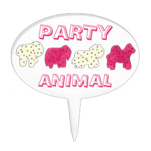 PARTY ANIMAL Crackers Cookies Circus Zoo Birthday Cake Topper