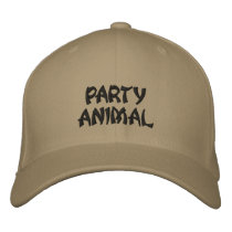 PARTY ANIMAL EMBROIDERED BASEBALL CAP