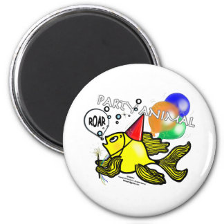 Party Animal Fish 2 Inch Round Magnet