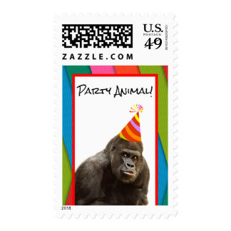 Party Animal Gorilla With Party Hat Birthday Postage