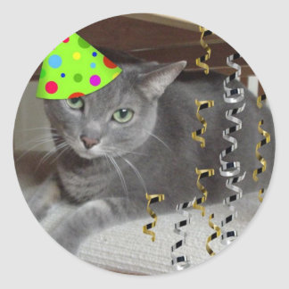 Party Animal Gray Cat Classic Round Sticker