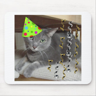 Party Animal Gray Cat Mouse Pad