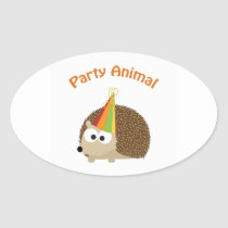 Party Animal! Hedgehog Oval Sticker