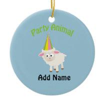 Party Animal! Lamb Ceramic Ornament