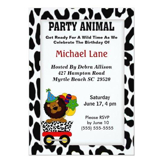 Party Animal Lion  Birthday Invitation