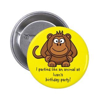 Party Animal Monkey Button Favors Party Souvenirs
