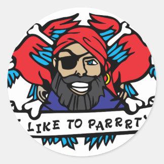 Party Animal Pirate Classic Round Sticker