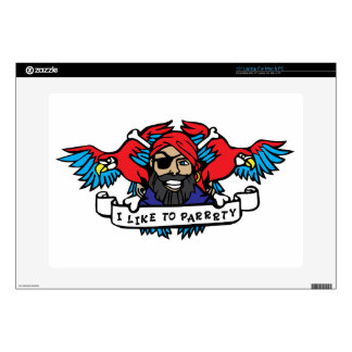 Party Animal Pirate Laptop Decals