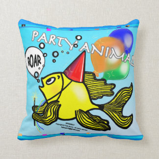 PARTY ANIMAL Roaring Fish funny cute blue CUSHION