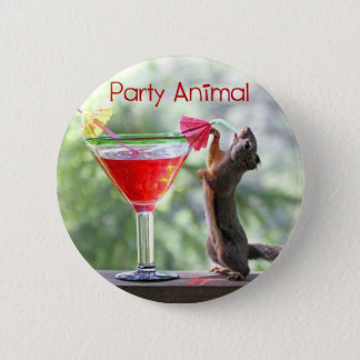 Party Animal Squirrel Button