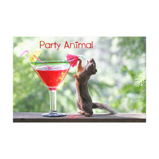 Party Animal Squirrel Gallery Wrapped Canvas