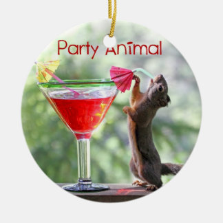 Party Animal Squirrel Christmas Ornament