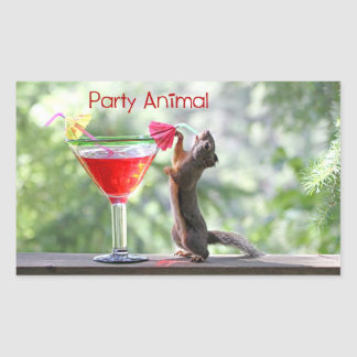 Party Animal Squirrel Rectangle Stickers