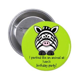 Party Animal Zebra Buttons Party Favors Souvenirs