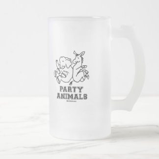 PARTY ANIMALS 16 OZ FROSTED GLASS BEER MUG