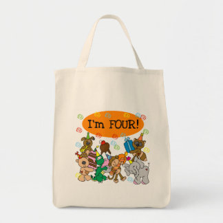 Party Animals 4th Birthday Tshirts and Gifts Tote Bags