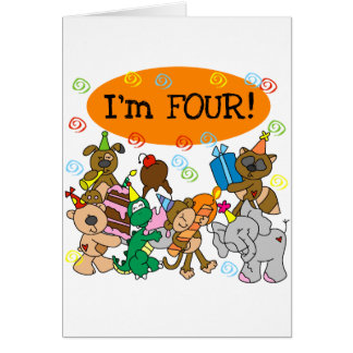 Party Animals 4th Birthday Tshirts and Gifts Card