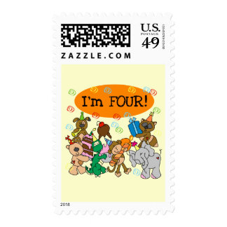 Party Animals 4th Birthday Tshirts and Gifts Postage Stamp