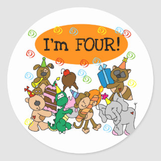 Party Animals 4th Birthday Tshirts and Gifts Classic Round Sticker