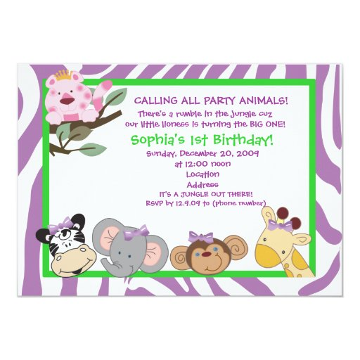 PARTY ANIMALS Baby Girl 1st Birthday Jungle 5x7 Card