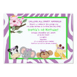 PARTY ANIMALS Baby Girl 1st Birthday Jungle 5x7 5x7 Paper Invitation Card