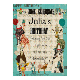Party Animals Birthday Invitation Black Text