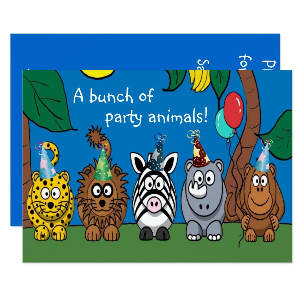 Party Animals Children's Birthday Party Invitation