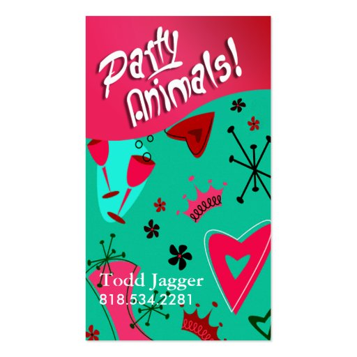 """""""Party Animals"""" - Party Planner, Event Organizer Business Card"""
