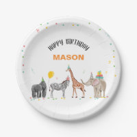 Party Animals Safari Zoo Party Boy Wild Birthday Paper Plate