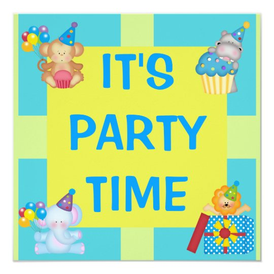 Party Animals & Shapes Surprise Birthday Card