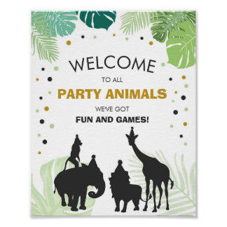 Party animals Welcome Sign Zoo Safari Jungle