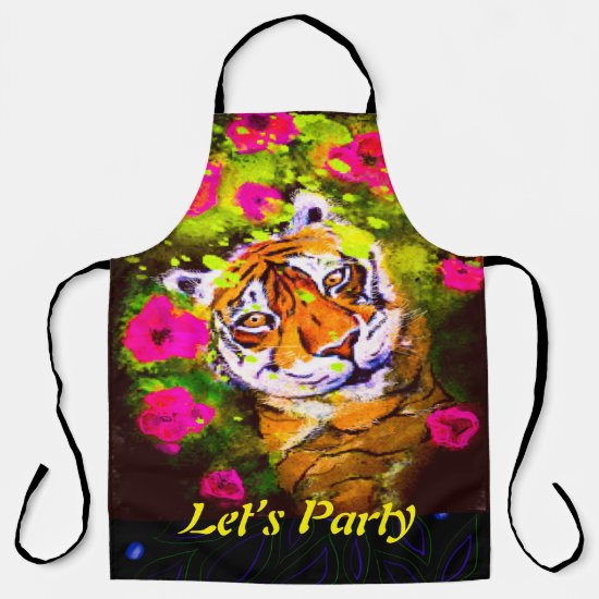 Party Apron Tiger Let's Party All-Over Print Apron
