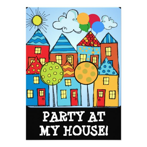 Party at My House Birthday Invitations