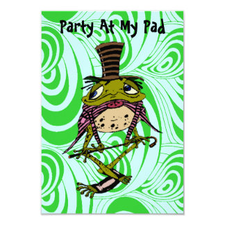 PARTY AT MY PAD Frog Top Hat Cane Tail  INVITATION