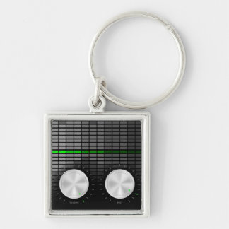 Party Background Silver-Colored Square Keychain