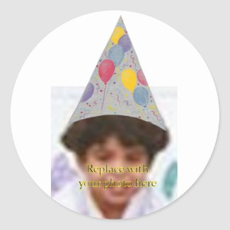 Party Balloon Hat Add Photo Birthday Stickers