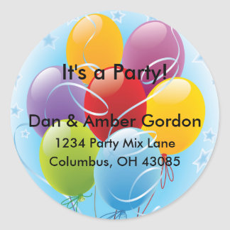 Party Balloons Address Labels Classic Round Sticker