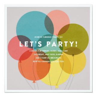 Party Balloons Birthday Invitation