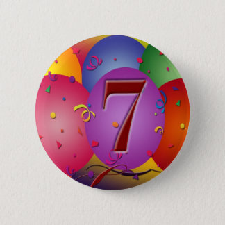 Party balloons for 7th birthday pinback button