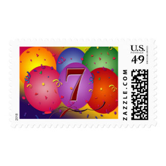 Party balloons for 7th birthday postage stamp
