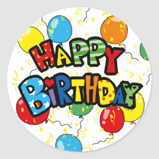 Party balloons happy birthday classic round sticker