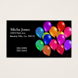 Party Balloons In A Rainbow Of Colors Business Card