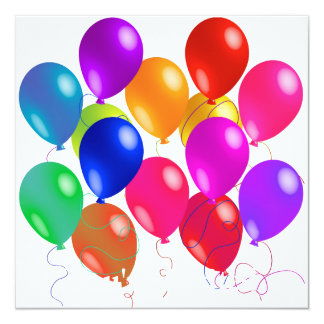 Party Balloons In A Rainbow Of Colors Card