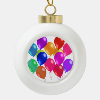 Party Balloons In A Rainbow Of Colors Ceramic Ball Christmas Ornament