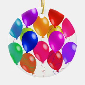 Party Balloons In A Rainbow Of Colors Double-Sided Ceramic Round Christmas Ornament